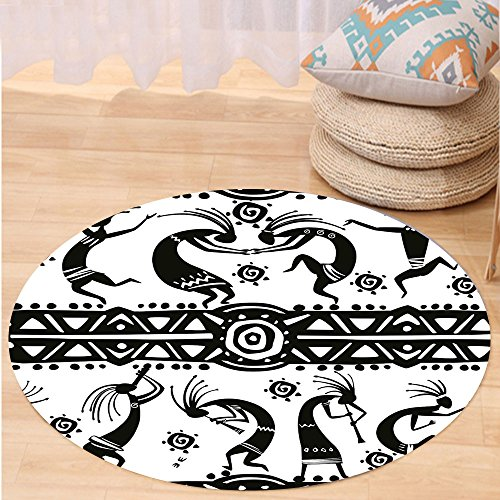 VROSELV Custom carpetTribal Ethnic African Aztec Dance with Geometrical Borders Triangles Round Swirls Art for Bedroom Living Room Dorm Black and White Round 79 inches by VROSELV