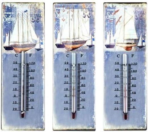 CAPRILO Set de 3 Termómetros Decorativos Barcos. Accesorios Jardín. Complementos. Decoración Hogar. Regalos Originales. 25 x 8 x 1 cm. : Amazon.es: Jardín