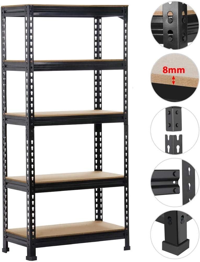 Yaheetech Etag/ères de Rangement 150 x 70 x 30 cm /Étag/ère Metallique Atelier//Garage//Cuisine Charge Lourde 150 kg par Niveau sans Boulons Noir