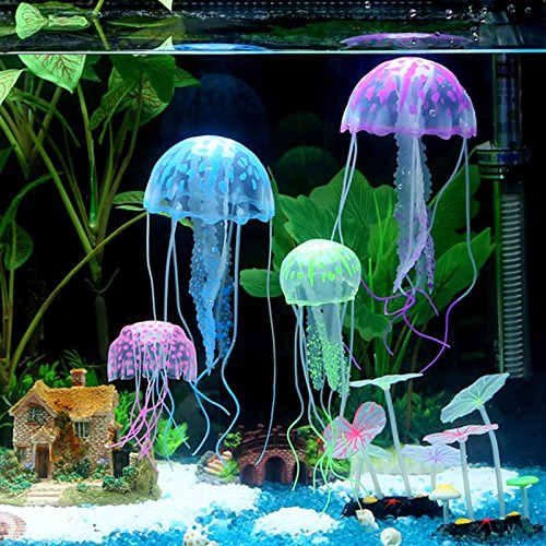 GMSA 6Psc/6Color Green Blue Pink Pulper (With Box) Fluorescence Jellyfish Glowing Effect Fish Tank Aquarium Coral Decoration Ornaments Backguounds Color:Blue Green Pink Pulper (Witches Bowling Halloween Games)