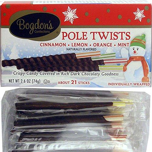 Bogdon's Reception Candy Sticks Dark Chocolate Dipped Pole Twists (Cinnamon, Lemon, Orange, Mint) - 2.6 Oz. - 21-sticks Box