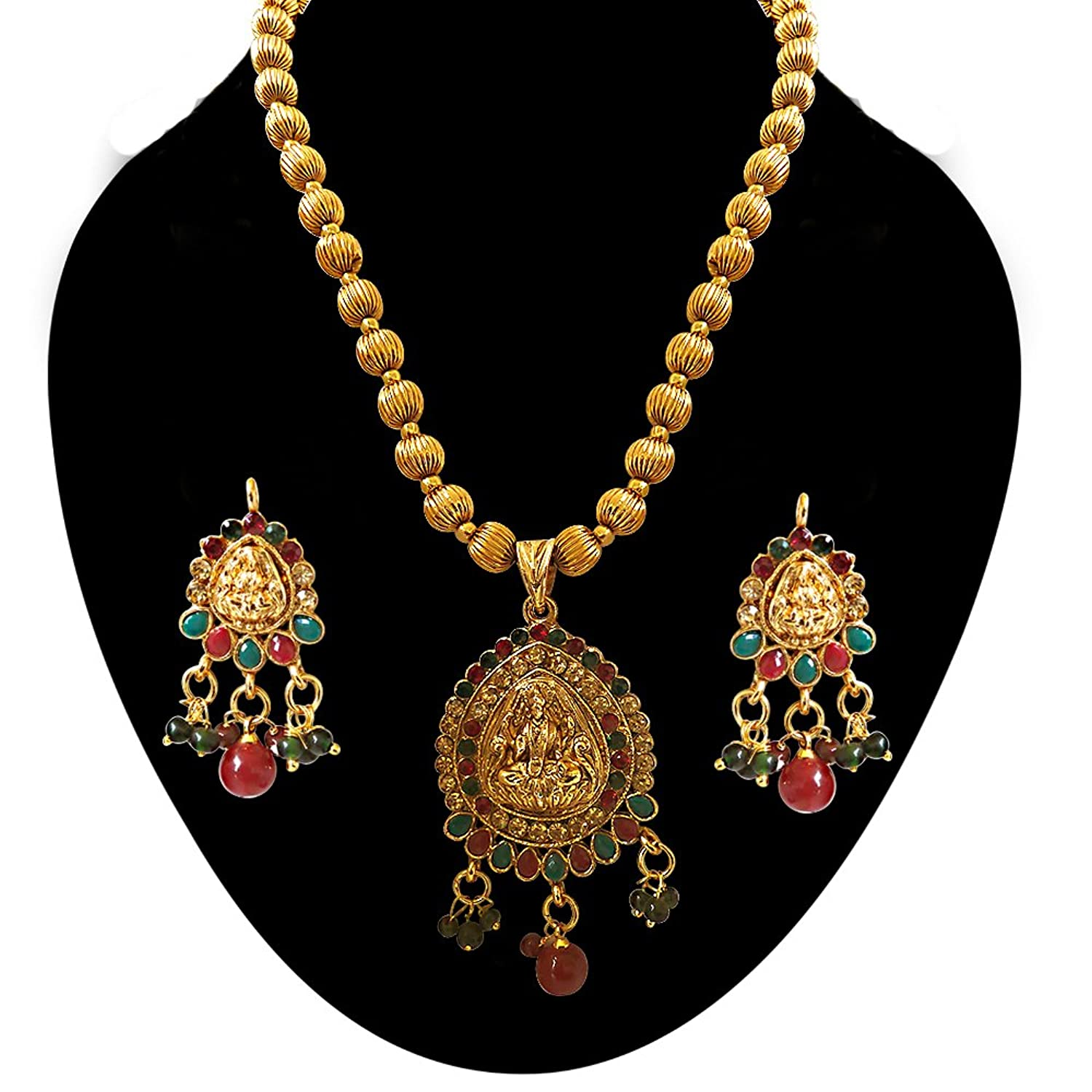 Buy Surat Diamonds Red & Green Stone & Gold Plated Laxmi Goddess ...