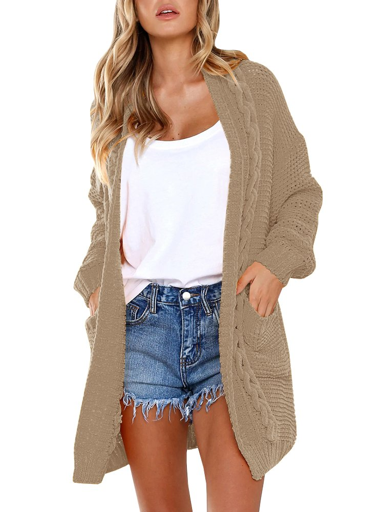 Tutorutor Womens Chunky Sweaters Oversized Cable Knit Cute Cozy Long Cardigan with Pockets