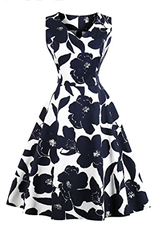 880de4df8e695 Misseurous Women's Vintage 50s Floral Spring Garden Rockabilly Retro Dress  Audrey Hepburn Prom Party Cocktail Dress at Amazon Women's Clothing store: