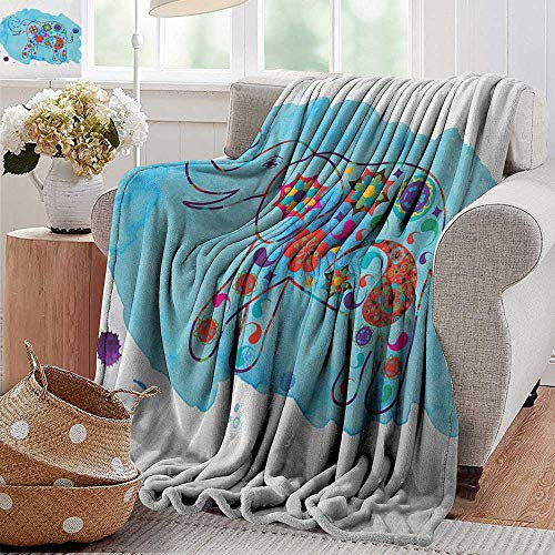 - XavieraDoherty Flannel Fleece Blanket,Elephant,Asian Thailand Elephant Colored in Paisleys Aqua Background Watercolor Nature, Multicolor,Throw Lightweight Cozy Plush Microfiber Solid Blanket 30