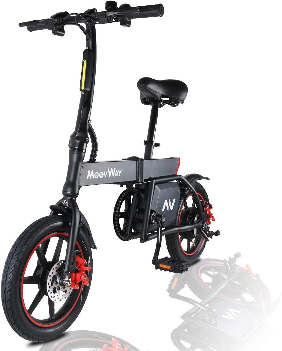 MoovWay Bicicleta Eléctrica Plegables, 350W Motor Bicicleta Plegable 25 km/h y 25 km, Bici Electricas Adulto con Ruedas de 14