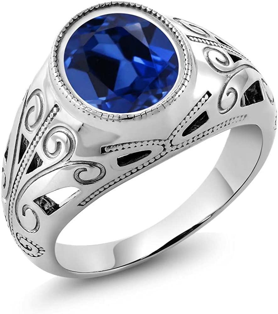 Gem Stone King 925 Sterling Silver Oval Blue Simulated Sapphire Men's Ring 6.13 Ct (Available 7,8,9,10,11,12,13)