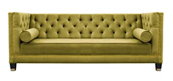 Senf Gold Elegante 3 Sitzer Nieten Samt Sofa Chesterfield Amazonde