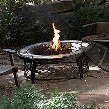 Round Slate Top Fire Pit Table With Free Cover