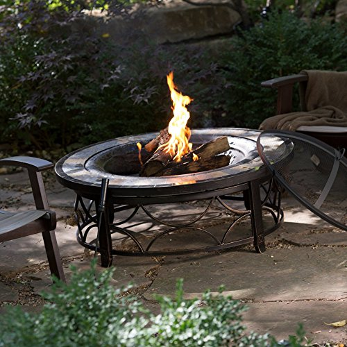 Red Ember Brighton 40 in. Round Slate Top Fire Pit Table with FREE ()