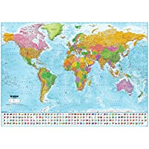 "World Map with flags XXL Poster - 2017 - MAPS IN MINUTES® (55""x39"")"