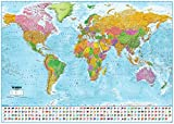 """World Map with Flags XXL Poster - 2018 - MAPS in Minutes® (55""""x39"""")"""