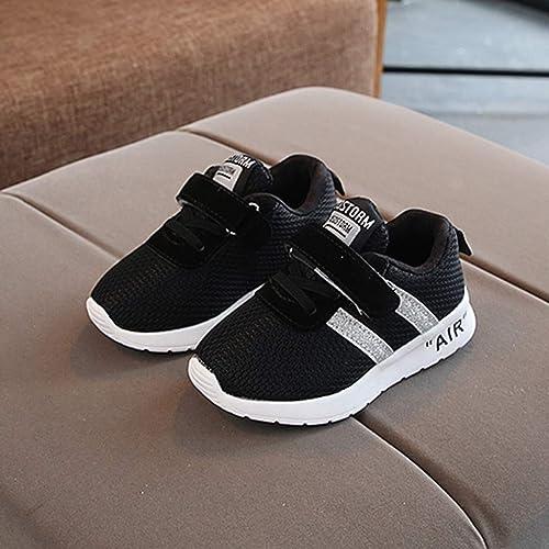 25 EU Igemy-Shoes Baskets Air pour Enfants Chaussures de Sport en Maille Bling Filles et gar/çons Noir Noir