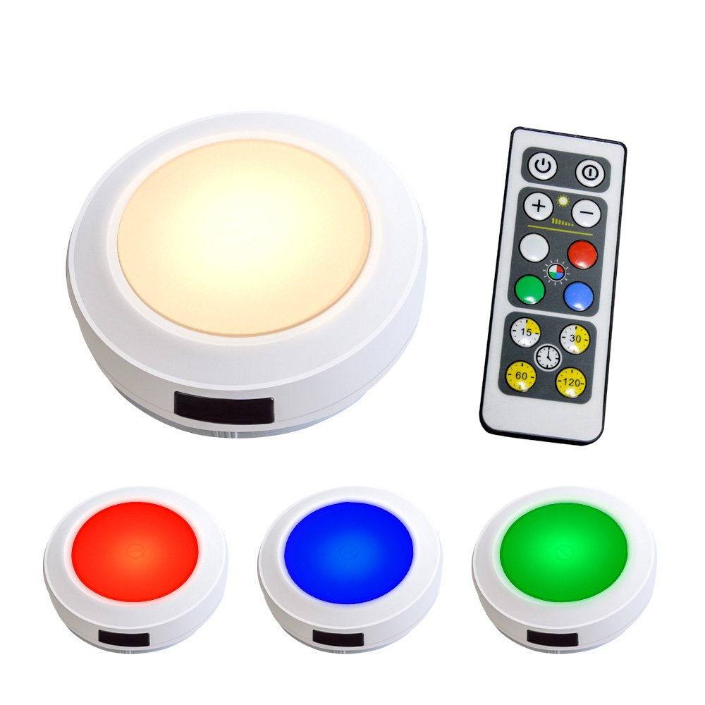 HONWELL Puck Lights 4 Pack RGB Color Changing Cabinet Lights Remote Controlled Counter Light Battery Operated Closet Light with Brightness Dimmable and Timer Setting Warm Light (3000K).