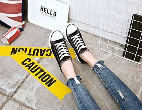 For Comfortable Women's Walking Sneakers Casual Fashion Lace Cut Adokoo Canvas Black Up Shoes Low ZwanPqv
