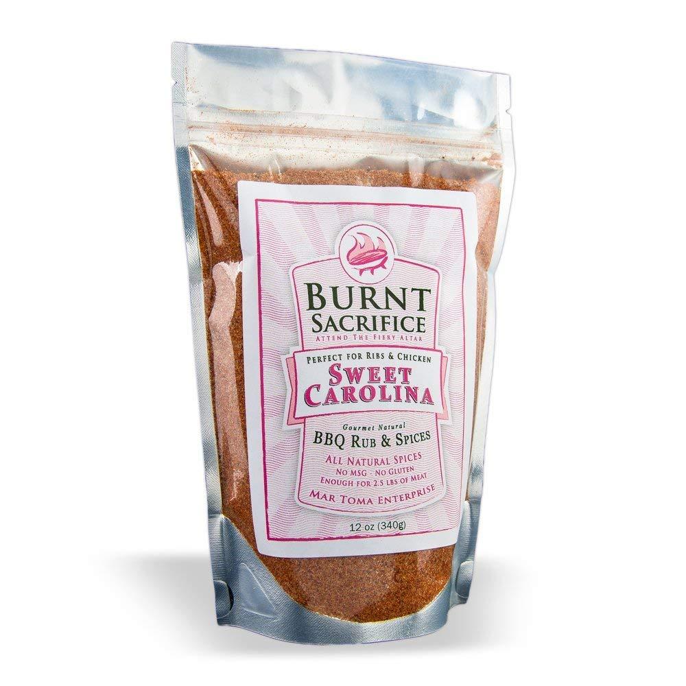 Burnt Sacrifice Sweet Carolina Style Gourmet BBQ Spice Dry Rub seasonings (10 Ounce Bag Makes Over 20 Pounds) Pork Ribs Chops Chicken Turkey Wings