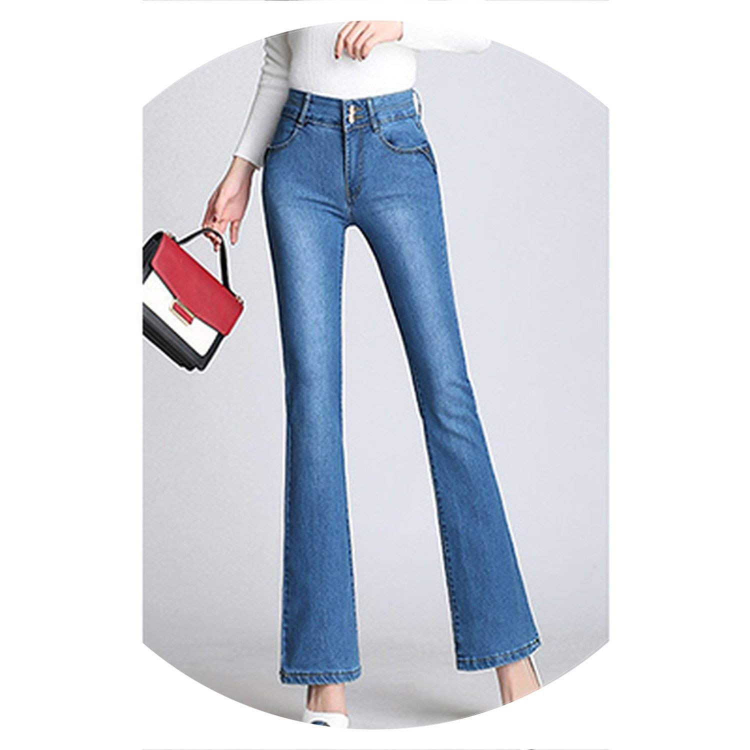 bluee colorfulspace Classic with High Waist Denim Jeans for Women Vintage Slim Mom Style Jeans Woman Denim Pants