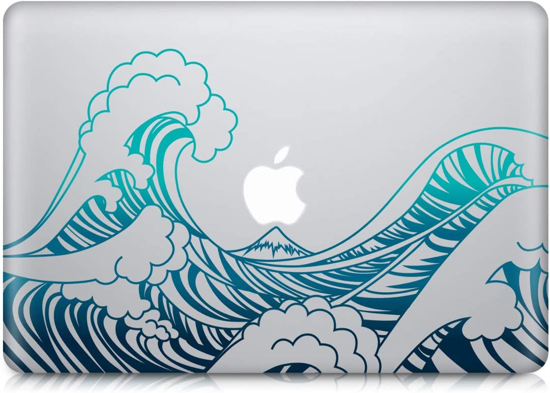 "kwmobile Decal Compatible with Apple MacBook Air 13"" Retina (from end of 2018) - Laptop Skin Decal Cover Sticker - Waves Blue/Dark Blue/Transparent"