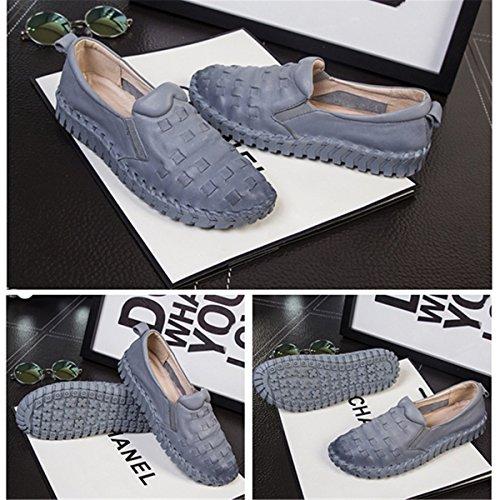Socofy Läder Mode Kvinnor Skor, Halka På Plan Avslappnade Handgjorda Mode Sy Grunt Mun Runt Gravida Kvinnor Dagdrivare Grå