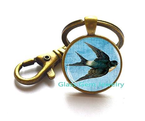 Llavero, diseño de Swallow, pájaro joyas, animales llavero ...