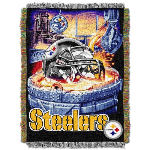The Northwest Company Officially Licensed NFL Pittsburgh Steelers Home Field Advantage Woven Tapestry Throw Blanket, 48