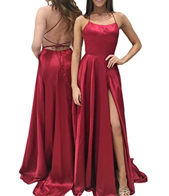 Ulbridal Womens Sexy Side Slit Halter Neck A Line Backless Prom Dresses Long Red - Red