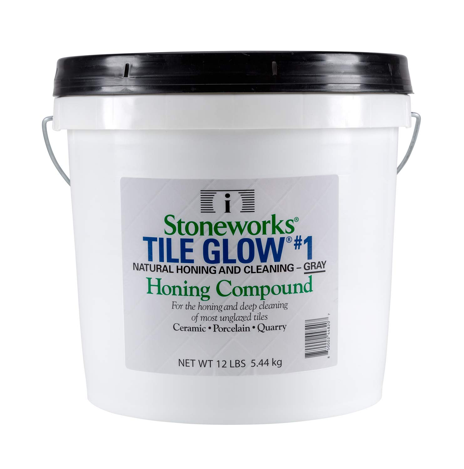 Tile Glow #1 Gray (12 Lb) Natural, Non-Wax Compound for The honing and deep Cleaning of Most unglazed Ceramic, Porcelain and Quarry Tiles