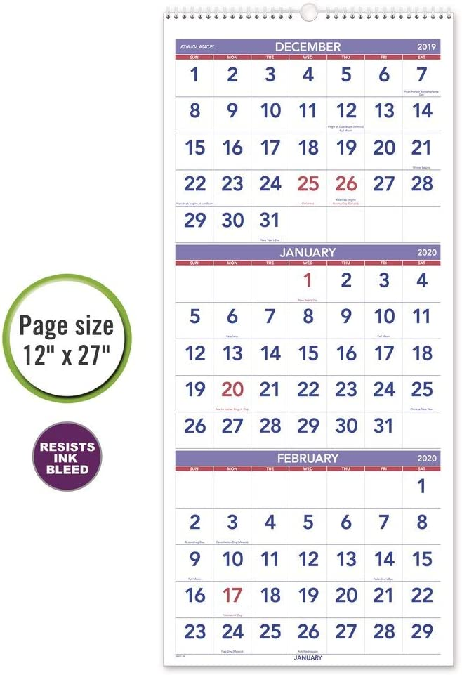 Large PM1128 Wirebound AT-A-GLANCE 2020 Wall Calendar Vertical 3-Month Display 12 x 27