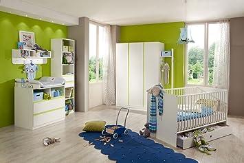 Babyzimmer Kinderzimmer Komplett Set Babymöbel Babybett Wickelkommode  Babyausstattung Einrichtung Komplett Schrank Mädchen Junge Weiß Grün