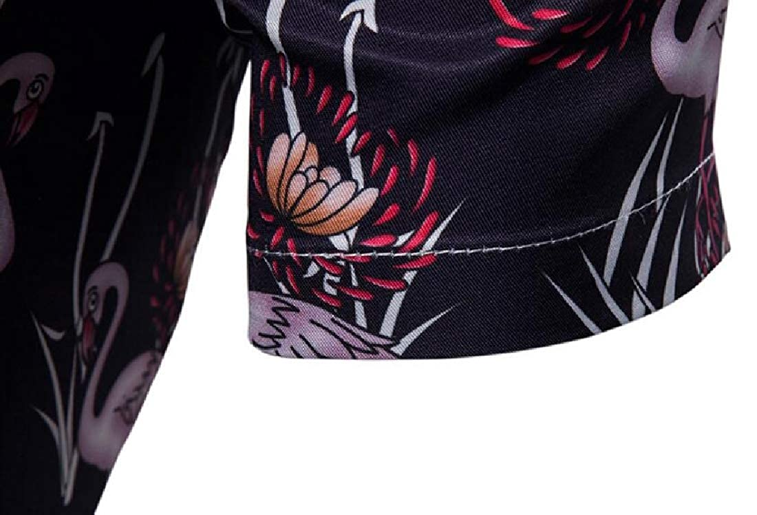 Mstyle Mens Lapel Floral Printed Summer Slim Fit Swan Short Sleeve Button Down Dress Work Shirt