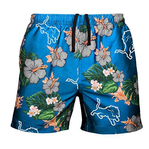 NFL Detroit Lions Mens Team Logo Floral Hawaiin Swim Suit Trunksteam Logo Floral Hawaiin Swim Suit Trunks, Team Color, Large (31