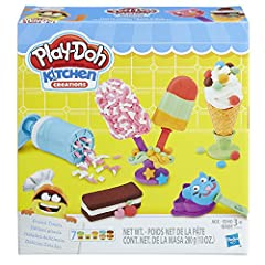 When the ice cream truck isn't around, here's the best way to get the coolest Play-Doh treats in town! Make crazy ice cream cones, silly snow cones, and more with these fun tools. With 2 cookie molds and a textured roller, ice cream makers ca...