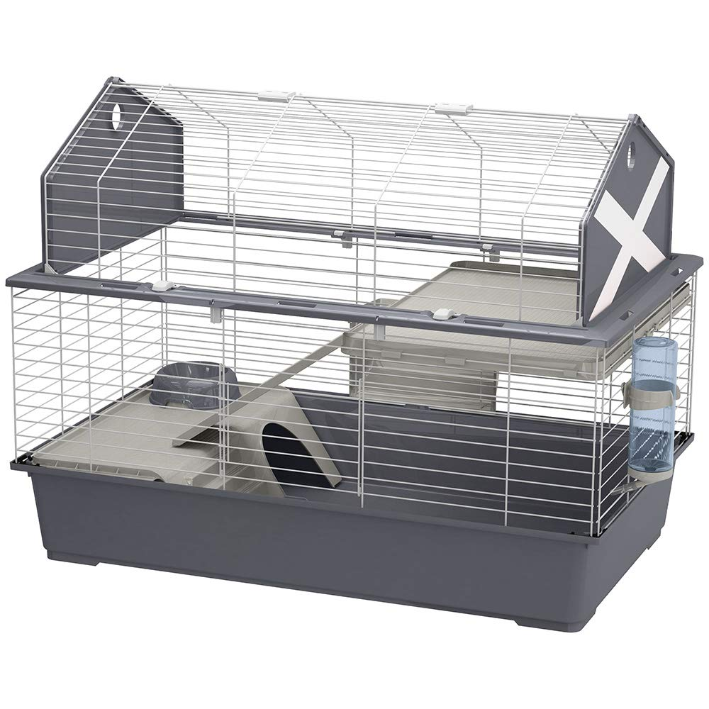Grey EXTRA LARGE grey EXTRA LARGE Ferplast Large Rabbit Home BARN 100 Small Animal Habitat, 37.8 x 22.4 x h 28.7 in Grey