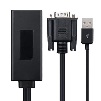 TopElek Cable VGA a HDMI 1080p con Cable USB de Audio y Vídeo, Conversor VGA