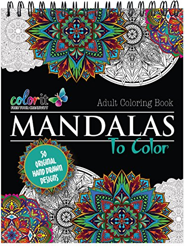 Mandala Coloring Book For Adults With Thick Artist Quality Paper, Hardback Covers, and Spiral Binding by ColorIt]()