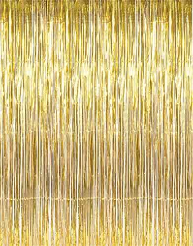 GOER 3.2 ft x 9.8 ft Metallic Tinsel Foil Fringe Curtains for Party Photo Backdrop Wedding Decor (Gold,1 pack)