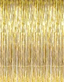 Toys : GOER 3.2 ft x 9.8 ft Metallic Tinsel Foil Fringe Curtains Party Photo Backdrop Wedding Decor (Gold,1 Pack)