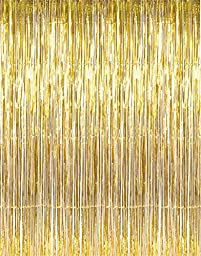 GOER 3.2 ft x 9.8 ft Metallic Tinsel Foil Fringe Curtains for Party Photo Backdrop Wedding Decor (Gold,5 pack)