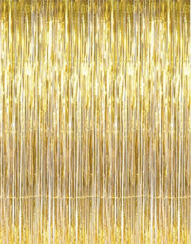 GOER 3.2 ft x 9.8 ft Metallic Tinsel Foil Fringe Curtains for Party Photo Backdrop Wedding Decor (2 Packs, Gold)]()