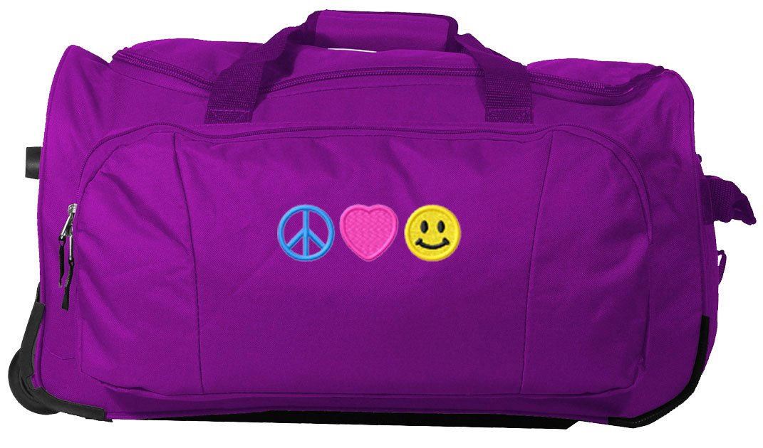 Kids Travel Zone Big Girls' Rolling Duffel With Peace Love Happiness Image In Purple