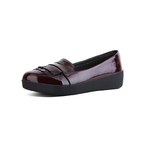 Fit Flop Fringey TM Sneakerloafer Patent, Mocasines (Loafer) para Mujer, Morado (Deep Plum 398), 40 EU: Amazon.es: Zapatos y complementos