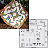 Bundle of Creative Grids Curvy Log Cabin Trim Tool 8in Finished Blocks and Cut Loose Press Rainbow Swirls Curvy Log Cabin Quilt Pattern