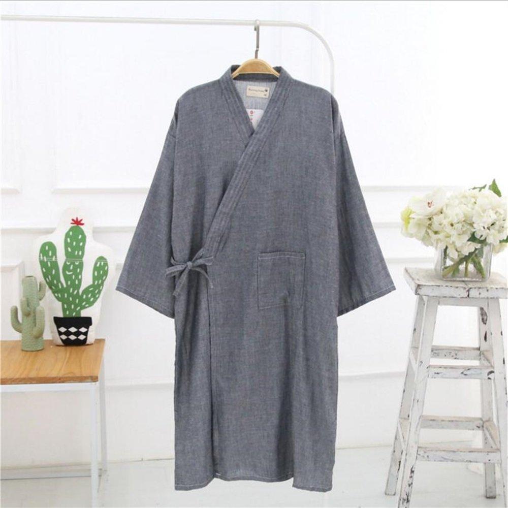8d36e57ed55fb Drap de bain Peignoir en coton pour hommes Cardigan en pyjama Essuie-mains  (Couleur : Grey, ...