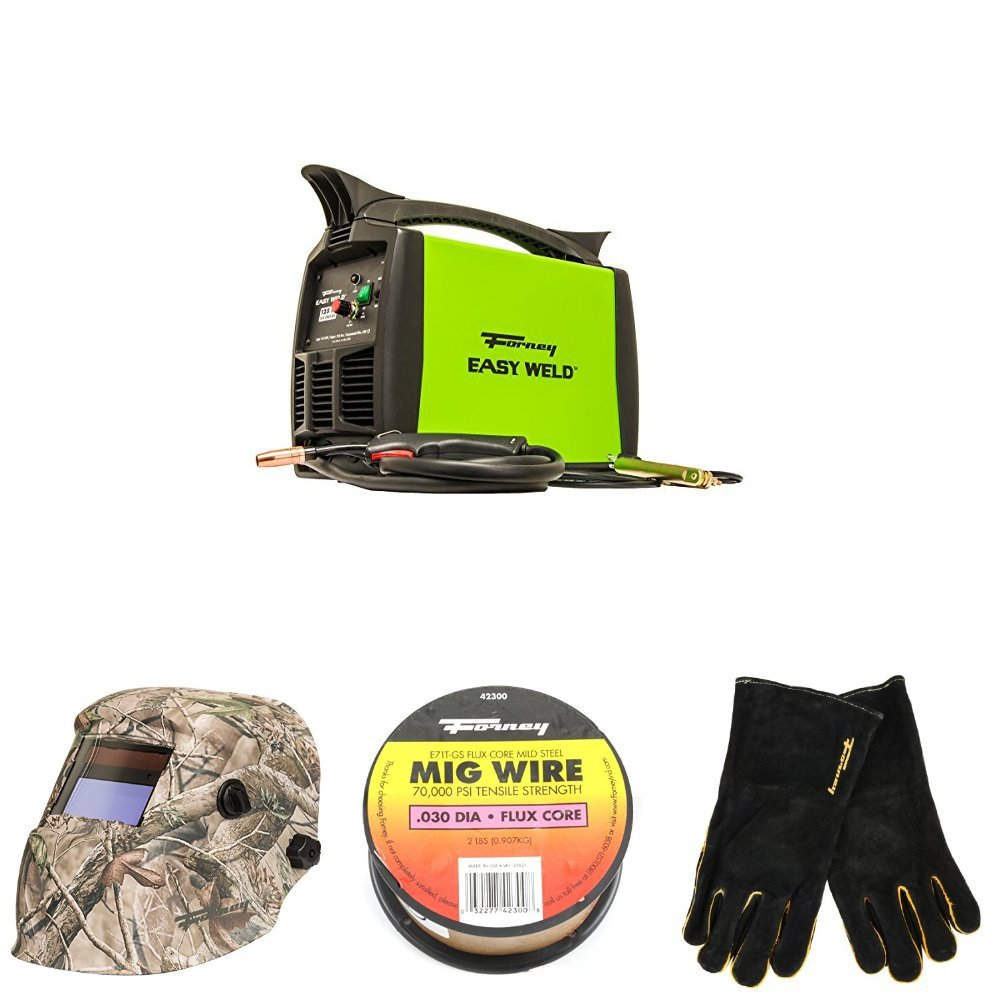 Forney Easy Weld 299 125FC Flux Core Welder, 120-Volt, 125-Amp with Camo Welding Helmet, 2 Pound Spool, .030- Diameter Mig Wire, and Leather Welding Gloves, Large by Forney