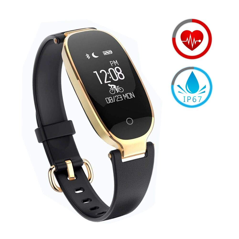 ZKCREATION Fitness Tracker for Women Activity Watch and Heart Rate Monitor IP67 Waterproof Smart Bracelet with Sleep Monitor Pedometer Calorie Compatible with Android and iOS