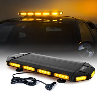 """Xprite Black Hawk 27"""" Amber Emergency Warning Security Strobe Light Bar, Professional Extreme High Intensity Low Profile Roof Top lightbar for Plow or Tow Truck Construction Vehicle"""