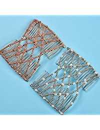 Casualfashion 2 Pcs Glittering Crystal Rhinestone Hair Combs Double Clips Insert Hair Accessories for Women