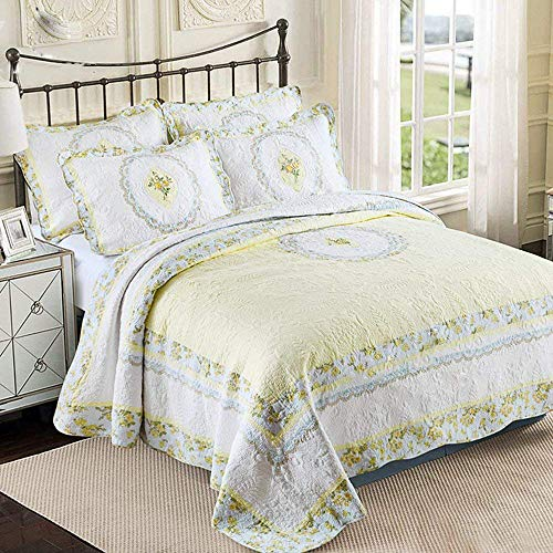 DOUH 3 Piece Bedspread Coverlet Sets Reversible Patchwork Bedding Quilt Set with 2 Matching Pillow Shams Lightweight Floral Pattern Oversized Quilted Comforter Set King Size