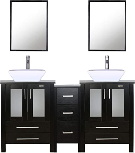 Amazon Com Eclife 60 Black Bathroom Vanity Sink Combo W Side Cabinet Modern Stand Pedestal W Square White Ceramic Vessel Sink Chrome Bathroom Solid Brass Faucet And Pop Up Drain Combo W Mirror A07 2b02 Kitchen
