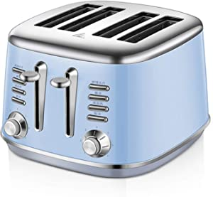 4 Slot Toaster, Stainless Steel Body, 7 Baking Modes, Cancel, Defrost & Reheat,Widened Grilling Slot And Independent 2-Slice Controls,1600W Fast Baking